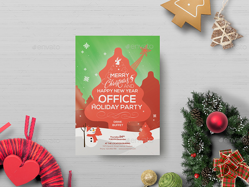 Office Holiday Party Flyer Template By Wutip2 Graphicriver