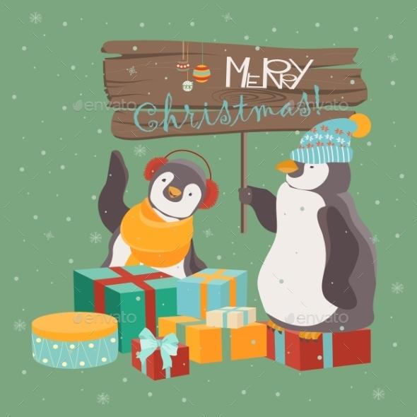 Funny Penguins Friends Celebrating Christmas - Christmas Seasons/Holidays