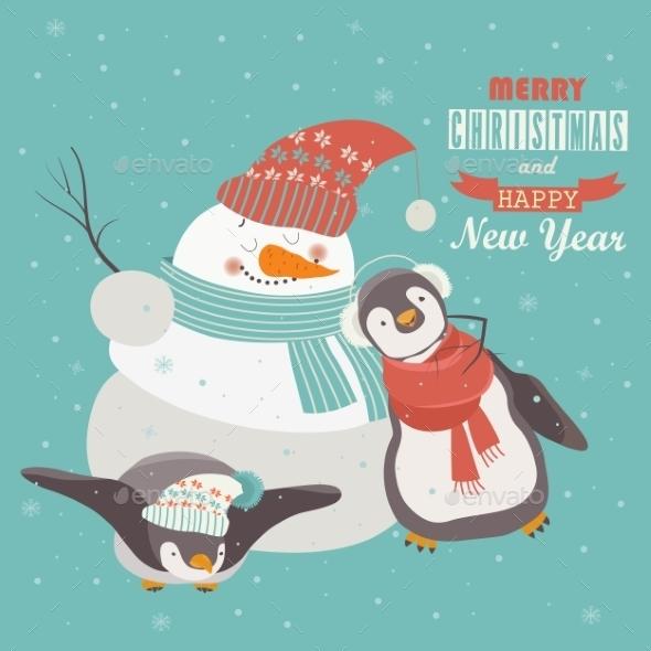 Funny Penguins With Snowman Celebrating Christmas - Christmas Seasons/Holidays