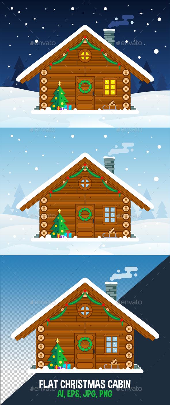 Flat Christmas Cabin Vector Illustration - Christmas Seasons/Holidays