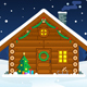 Flat Christmas Cabin Vector Illustration - GraphicRiver Item for Sale