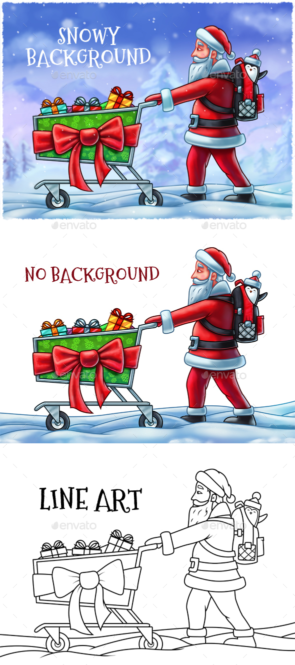 Santa Claus Pushing a Shopping Cart - Miscellaneous Backgrounds
