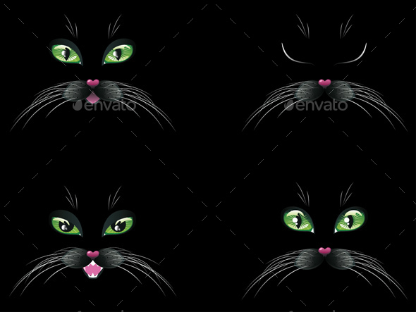 Black Cat Face with Green Eyes - Animals Characters