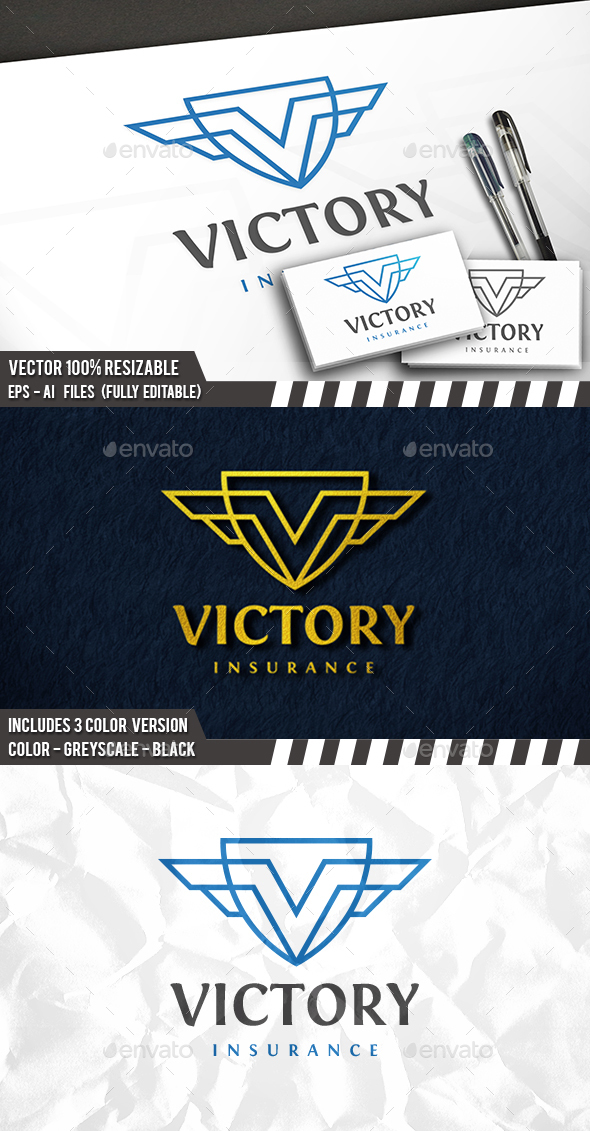 Victory Shield Logo - Letters Logo Templates