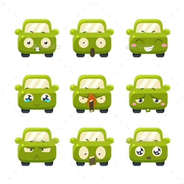 Funny Cars With Emoticons. Vector Set - Monsters Characters
