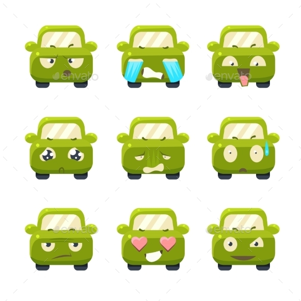 Cute Cars With Emoticons. Vector Set - Monsters Characters