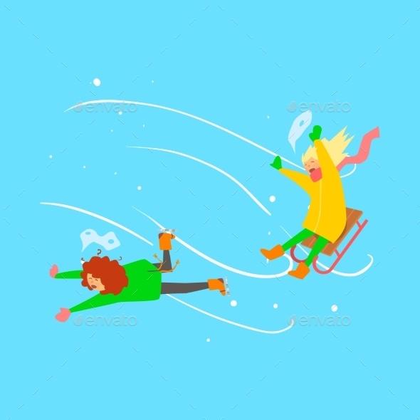 Girls Sledging. Winter Vector Illustration - Christmas Seasons/Holidays