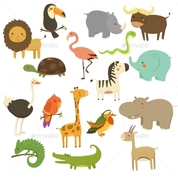 Cute Woodland And Jungle Animals Vector Set - Animals Characters
