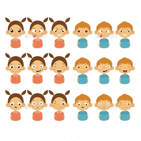 Cute Girl And Boy Faces Showing Different Emotions - People Characters