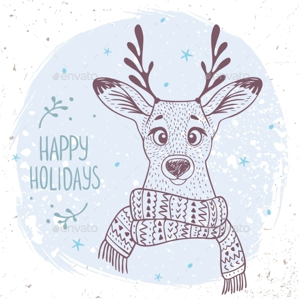 Deer With a Scarf - Christmas Seasons/Holidays