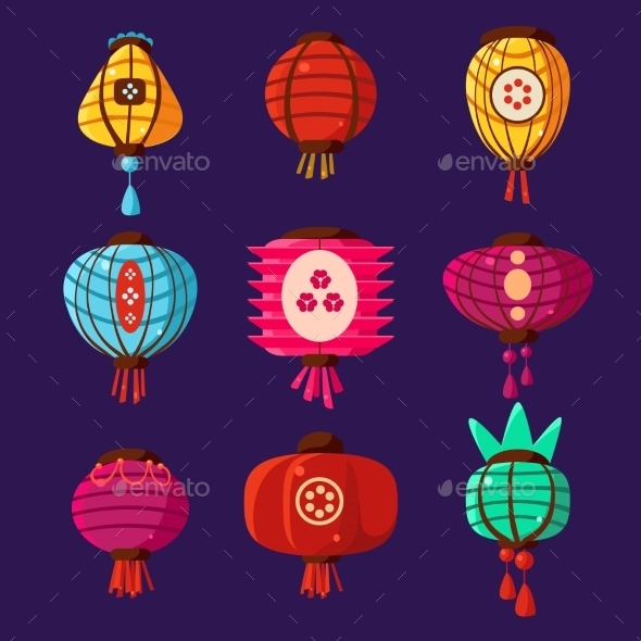 Colourful Lanterns Set. Vector Illustration  - Decorative Symbols Decorative