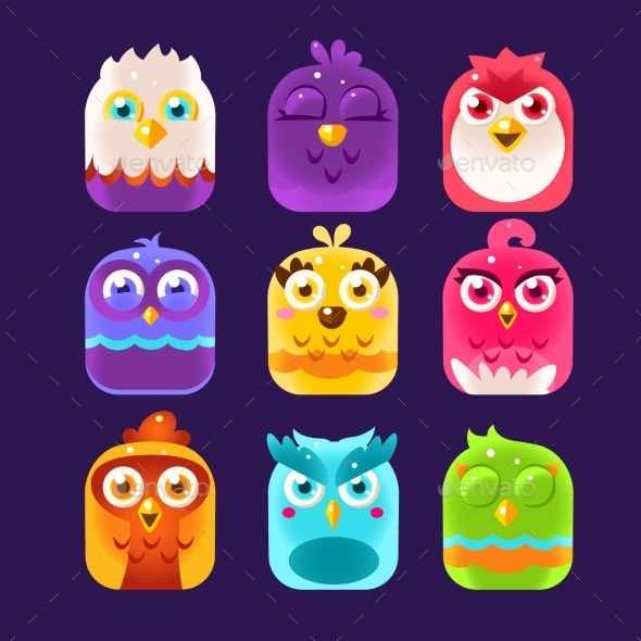 Owl Icons Set. Vector Illustration - Decorative Symbols Decorative