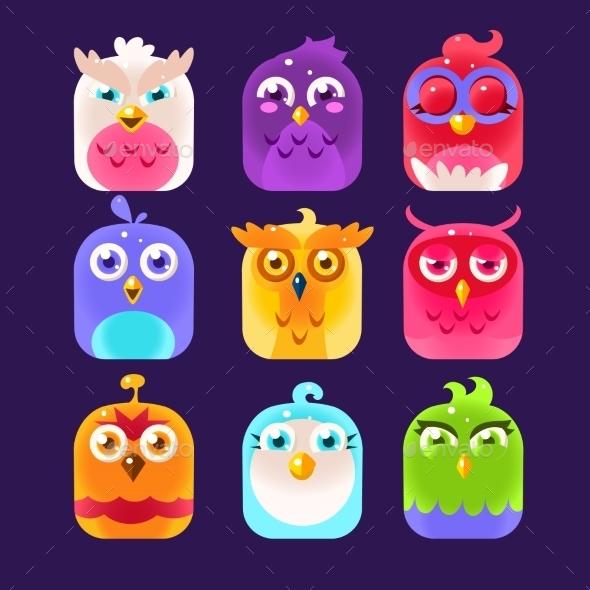 Owl Icon Collection. Vector Illustration - Decorative Symbols Decorative