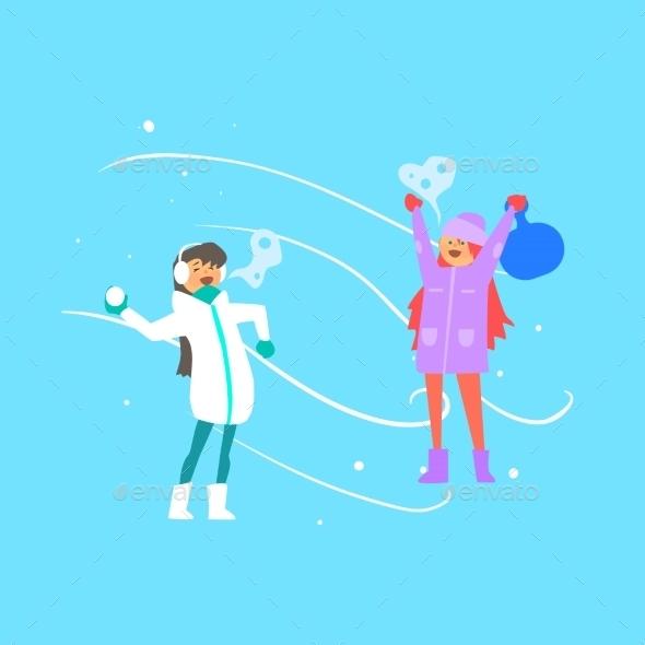 Cheerful Girls Playing Snowballs. Vector - Christmas Seasons/Holidays