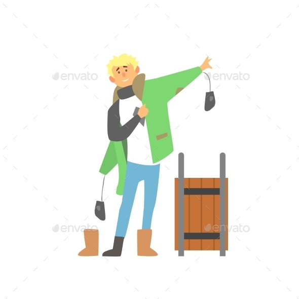 Boy Wearing Winter Clothes With Sledge, Vector - Christmas Seasons/Holidays