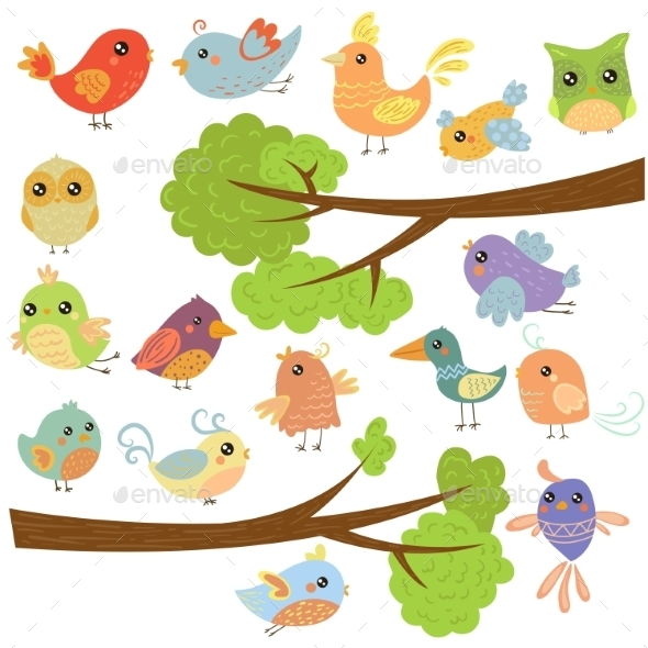 Birds On Different Branches. Vector Illustration  - Seasons Nature