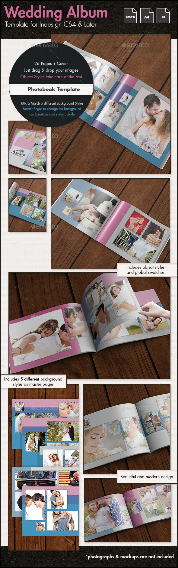 Wedding Photobook Album Template - A4 Landscape - Photo Albums Print Templates