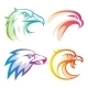 Colorful Eagle Head Logos With Rainbow Gradients - GraphicRiver Item for Sale