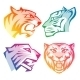 Colorful Tiger Head Logos With Rainbow Gradients - GraphicRiver Item for Sale