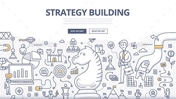 Strategy Building Doodle Concept - Concepts Business