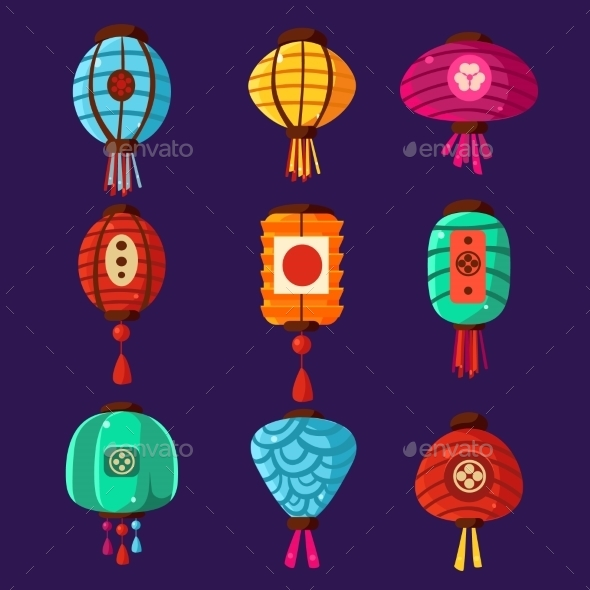 Colourful Lanterns. Vector Illustration Set - Decorative Symbols Decorative