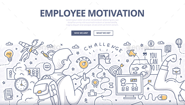 Employee Motivation Doodle Concept - Concepts Business