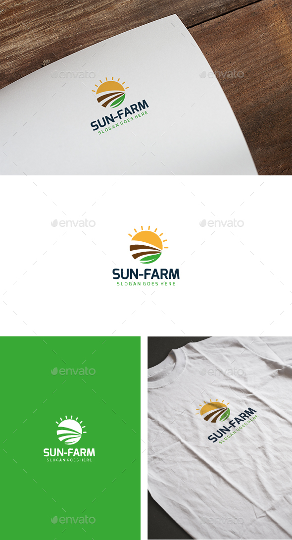 Sun Farm Logo - Nature Logo Templates