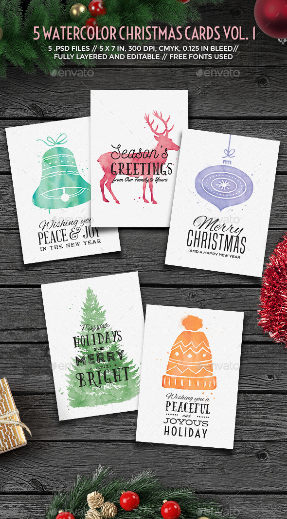 Watercolor Christmas Cards vol. 1 - Holiday Greeting Cards