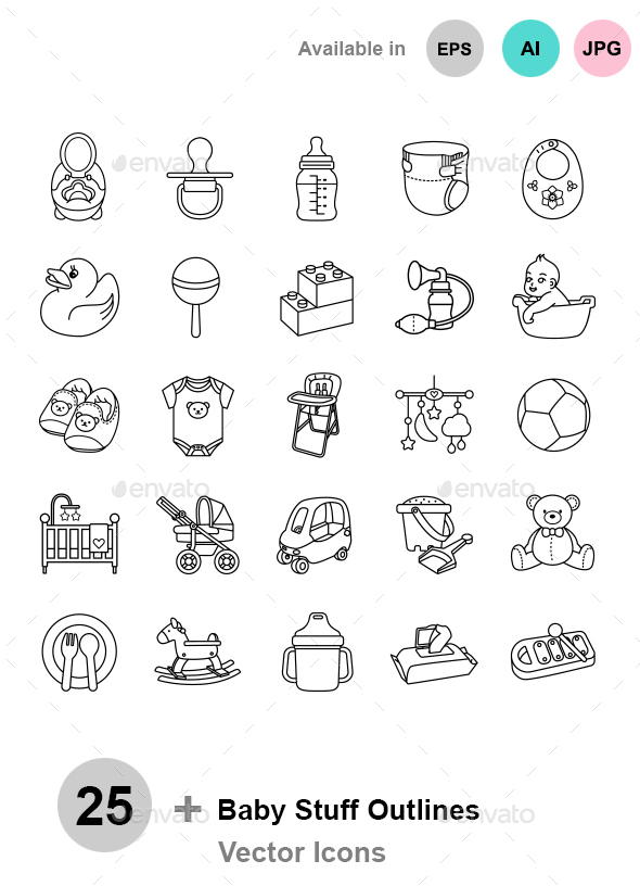 Baby Stuff Outlines Vector Icons - Man-made objects Objects