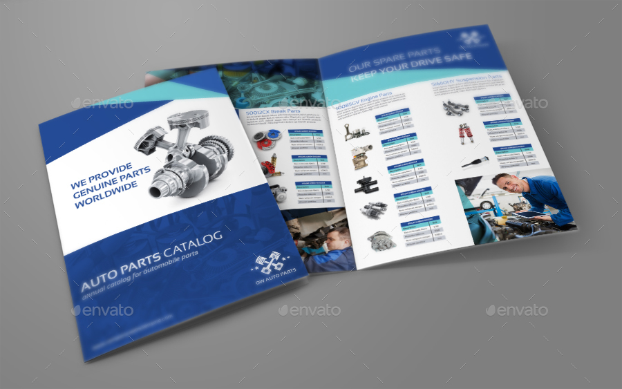Auto Parts Catalog BiFold Brochure Template By Owpictures