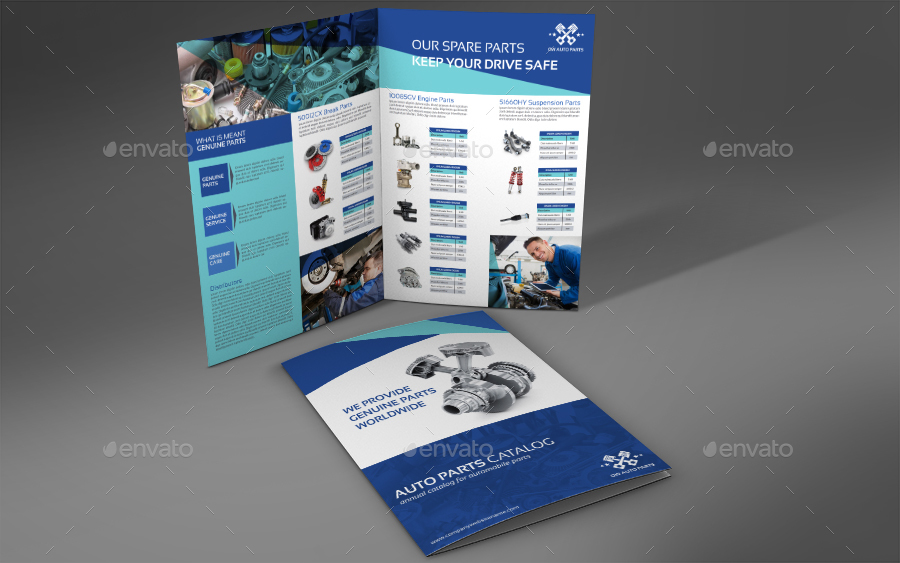Auto Parts Catalog Bi-Fold Brochure Template By Owpictures