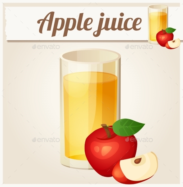 Apple Juice. Detailed Vector Icon - Food Objects