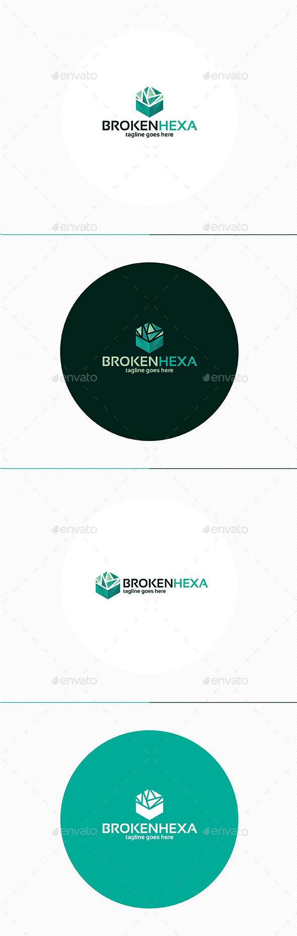 Broken Hexa Logo - Vector Abstract