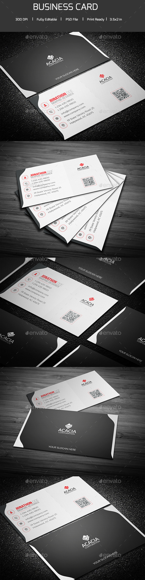 Modern Acacia Business Card - Corporate Business Cards
