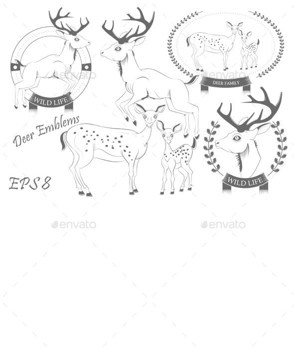 Set of emblems with Deer  - Animals Characters