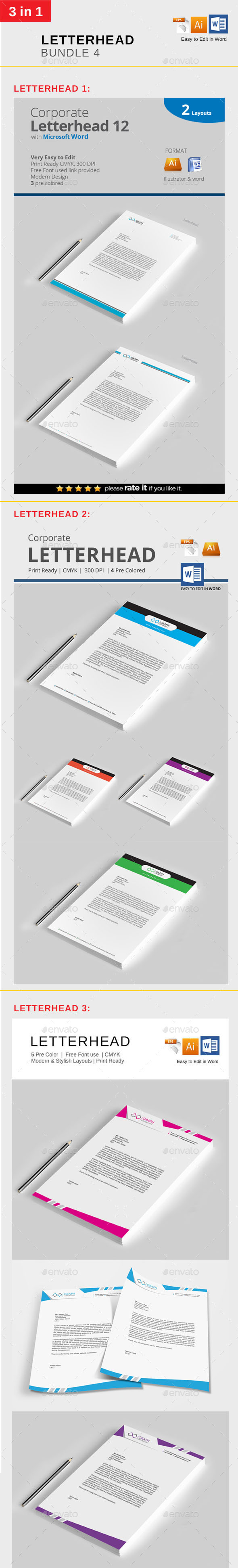 Letterhead Bundle 4 - Stationery Print Templates