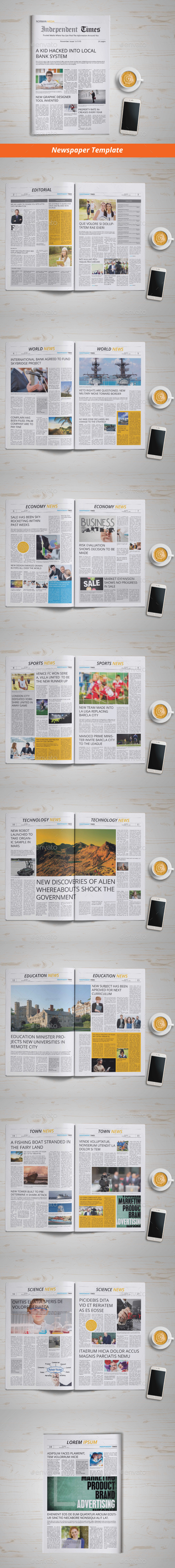Newspaper Template | 18 Pages - Newsletters Print Templates