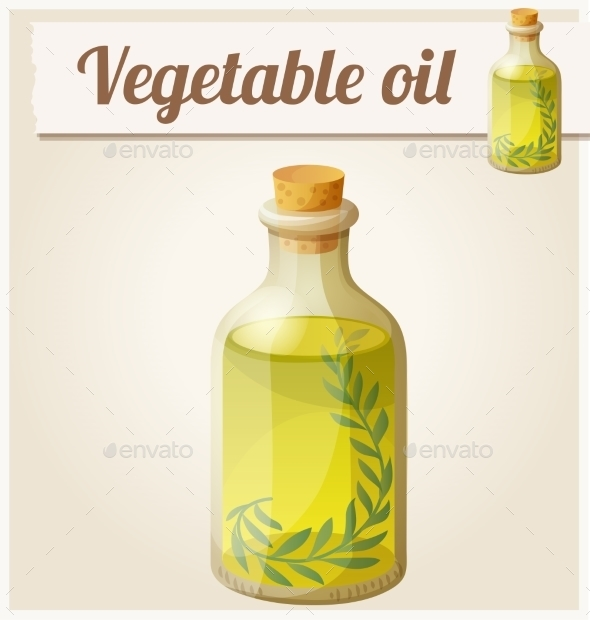 Vegetable Oil. Detailed Vector Icon - Food Objects