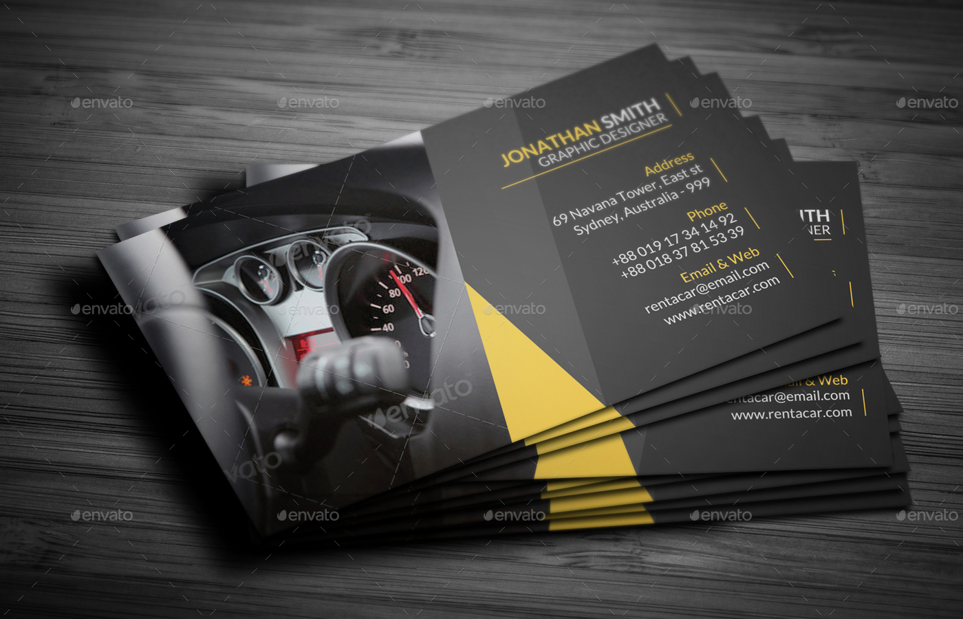 Rent A Car Business Card By Vejakakstudio GraphicRiver - Mechanic business cards templates free