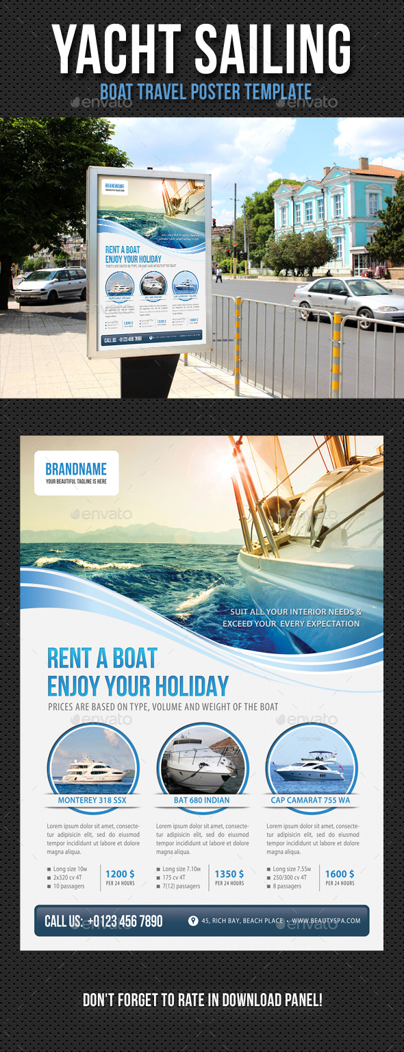 Yacht Sailing Poster Template V01 - Signage Print Templates