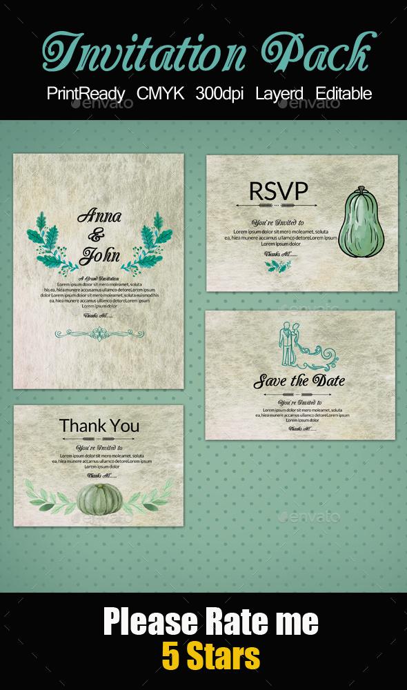Retro & Rusty Invitation Pack - Cards & Invites Print Templates