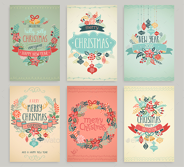 Christmas Hand Drawn Card Set. - Christmas Seasons/Holidays