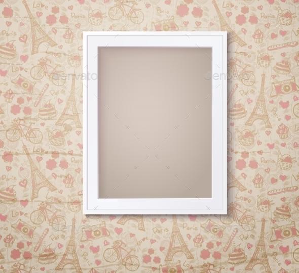 Vintage White Photoframe On French Fashioned - Backgrounds Decorative
