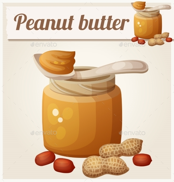 Peanut Butter. Detailed Vector Icon - Food Objects