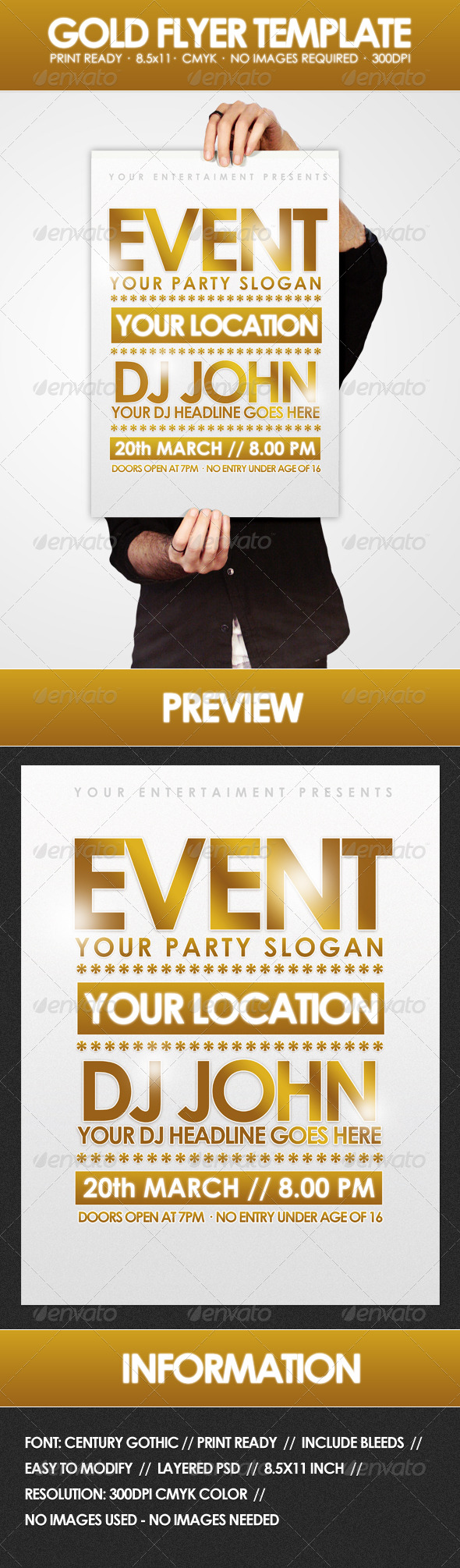 Gold - Flyer Template - Clubs & Parties Events