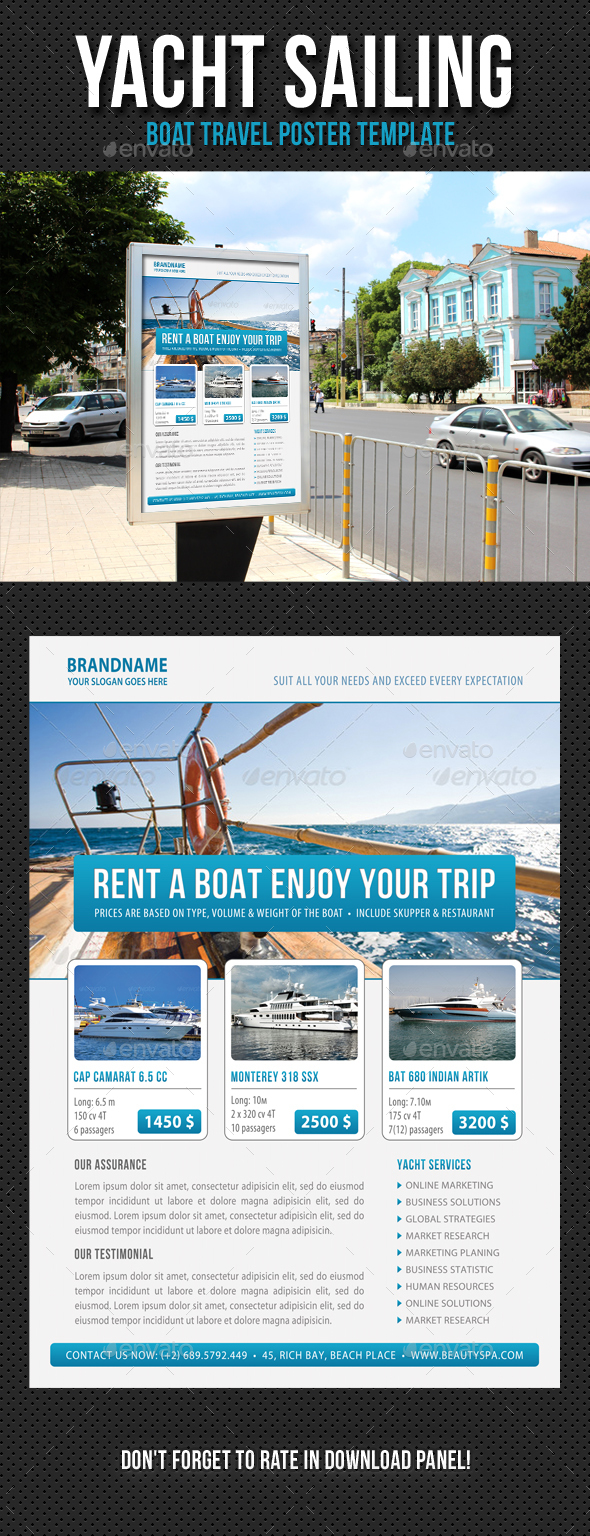 Yacht Sailing Poster Template V03 - Signage Print Templates