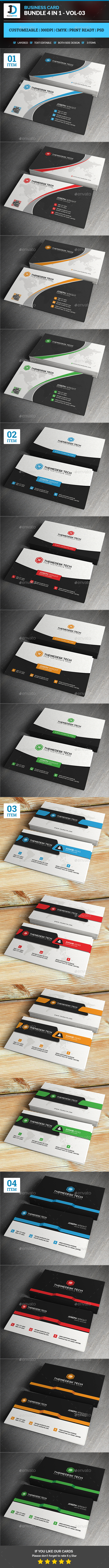 Business Card Bundle 4 in 1 - Vol-3 - Corporate Business Cards