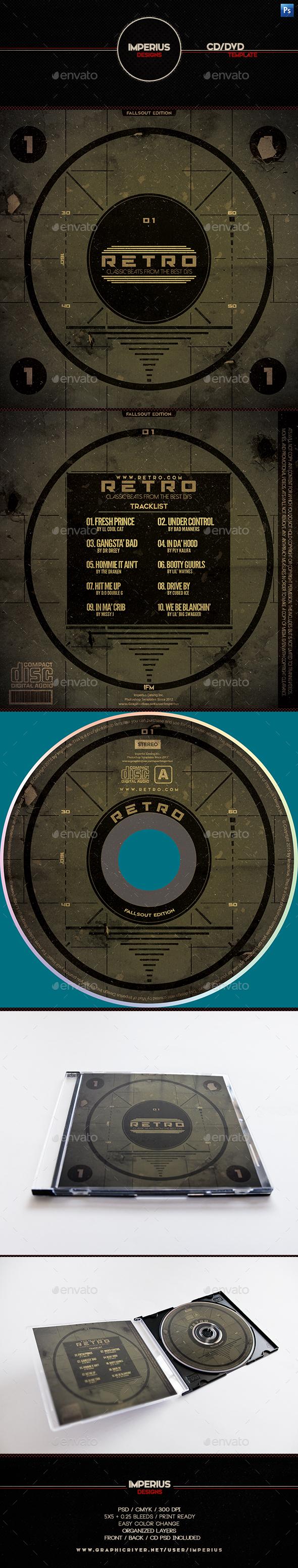 Retro CD/DVD Cover - CD & DVD Artwork Print Templates