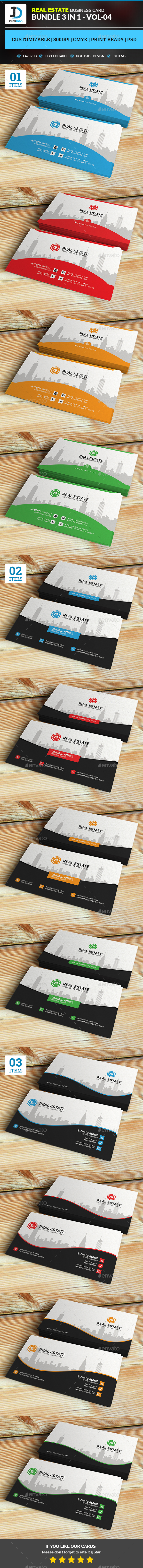 Real Estate - Business Card Bundle 3 in 1 - Vol-4 - Corporate Business Cards