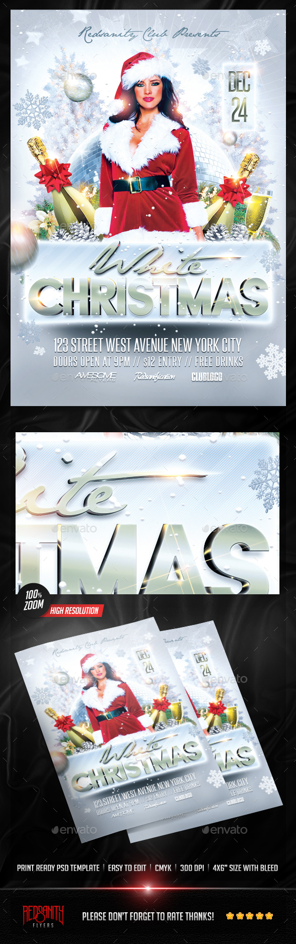 White Christmas Flyer - Holidays Events